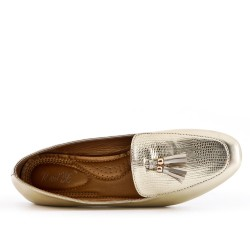 Gold loafer with pompom