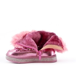 Furry pink girl boot with lace