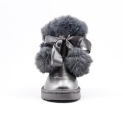 Bottine fille fourrée grise avec pompon