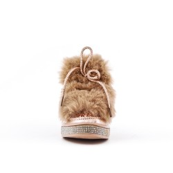 Champagne glitter girl boot with fur