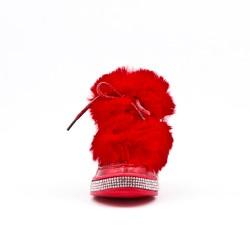 Botte fille pailletée rouge avec fourrure