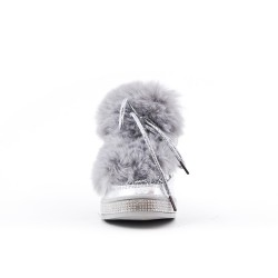 Silver glitter girl boot with fur