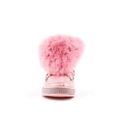 Botte fille pailletée rose avec fourrure