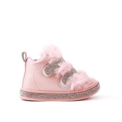 Pink stuffed girl boot with strasse
