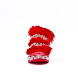 Botte fille fourrée rouge ornée de strasse