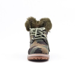 Green military girl boot with lace