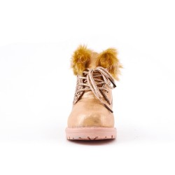 Furry girl champagne boot with lace