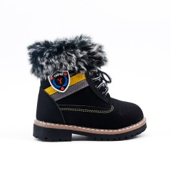 Furry black girl boot with lace