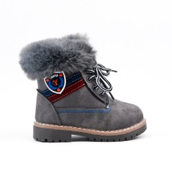 Gray girl boot with lace