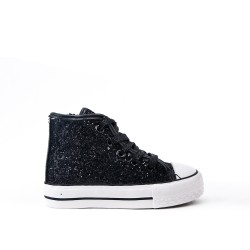 Black glitter girl tennis shoes