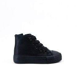 Black laced sneaker for child