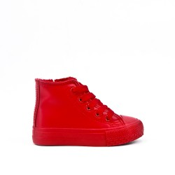 Red lace-up tennis court