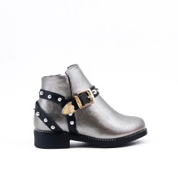 Gray girl's boot with buckled bridle on the side