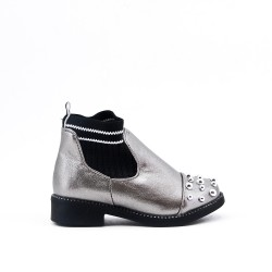 Gray girl's bootie with sock shank