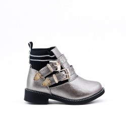 Gray girl's boot with buckled bridle