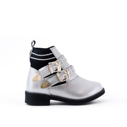 Silver girl's boot with buckled bridle