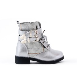 Checked girl's silver ankle boots