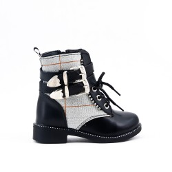 Checked black girl bootie