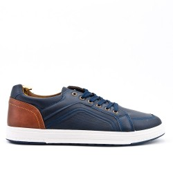 Blue sneaker with perforated detail