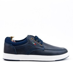 Blue leatherette sneaker with lace