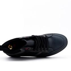 Basket montante noire en simili cuir