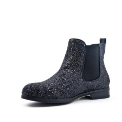 Black sequined ankle boot