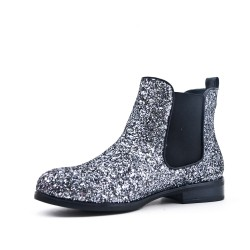 Silver sequined ankle boot
