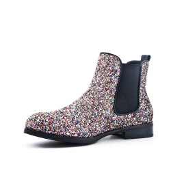 Multicolored sequined ankle boot