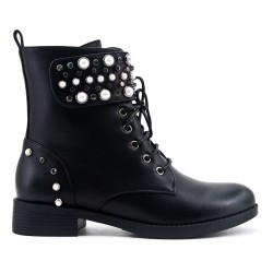 Black imitation leather ankle boot with pearl trim