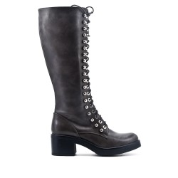 Gray leatherette boot with lace