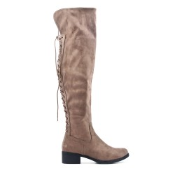 Taupe boot in faux suede with lace