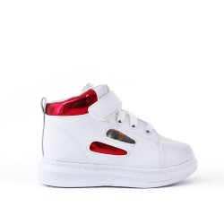 White high-top sneaker with lace for child