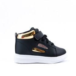 Black high-top sneaker with lace for child