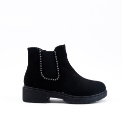 Ankle boots black girl in faux suede