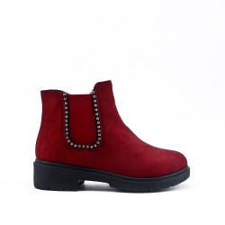 Girl's red ankle boot with faux suede