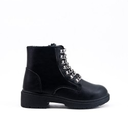 Bottine fille noire en simili cuir