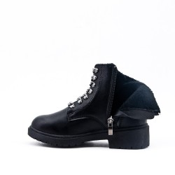 Black girl ankle boots in faux leather