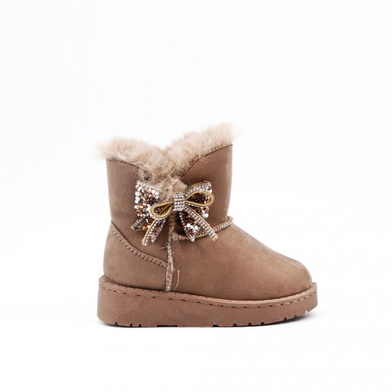 Beige girl boot with bow