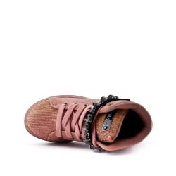 Botte fille rose à lacet