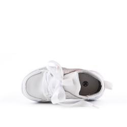 Basket enfant blanc à lacet ruban