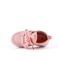 Basket enfant rose à lacet ruban