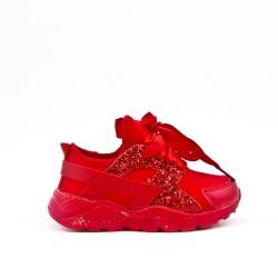 Basket enfant rouge à lacet ruban