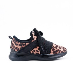 Basket fille léopard à lacet