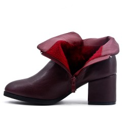 Burgundy ankle boot in faux leather with heel