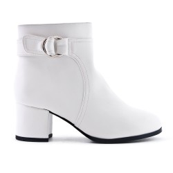 White imitation leather ankle boot