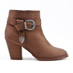 Khaki ankle boot in faux suede