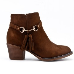 Camel ankle boot in faux suede with bangs