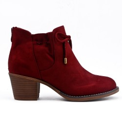 Red ankle boot in faux suede with lace