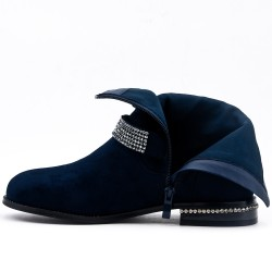 Blue suede ankle boot with rhinestone straps