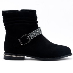 Black ankle boot in faux suede with rhinestone straps